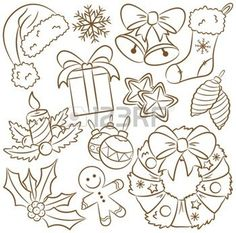 Illustration of Cute doodle icons on Christmas theme vector art, clipart and stock vectors. Christmas Doodles, Christmas Coloring Pages, Merry Christmas Card, Christmas Greeting Cards, Christmas Colors, Christmas Themes, Christmas Sock, Emoticon, Windows Color
