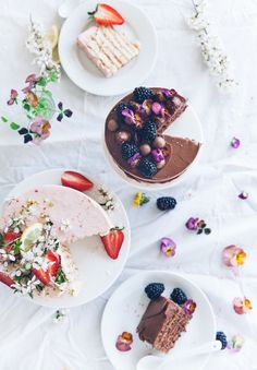 Chocoate + nutella and rhubarb + strawberry vertical cakes