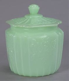 Reproduction Jadeite Glass Cookie Jar - and at $24.99 you don't have cry like a baby if one of the kids break it! Bluebird Goods!