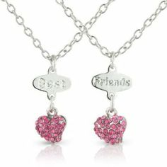 Bestfriends necklace, 2 Hearts in Gorgeous Pink Diamante Stones, arrives in 2 lovely keepsake bags for you your Best friend Chic Fashion Jewellery. $15.99. 100% Nickle and 100% Lead Free to meet and exceed Health & Safety Requirements. Gorgeous jewelry for children. As with all Chic Fashion Jewellery products your gift will arrive in a lovely gift bag