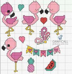Cross Stitch For Kids, Cross Stitch Boards, Cross Stitch Baby, Cross Stitch Animals, Cross Stitching, Cross Stitch Embroidery, Embroidery Patterns, Cross Stitch Patterns, Flamingo Pattern