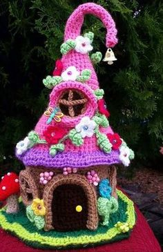 This is a new handmade crochet Fairy/ Gnome house made with acrylic yards. It is decorated on all sides and stands approx. This house is Crochet Fairy, Crochet Home, Crochet Gifts, Crochet Dolls, Yarn Projects, Knitting Projects, Crochet Projects, Amigurumi Patterns, Crochet Patterns