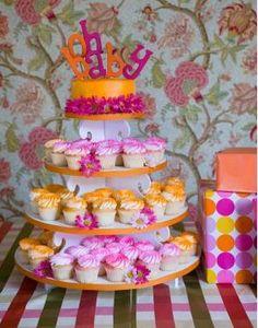 Orange and pink cupcake tower