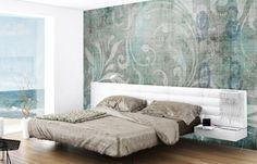 Tapete im Schlafzimmer mit floralem Muster - Aqua und Grau
