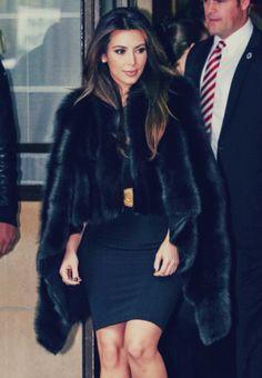 Fur coat. Kim K
