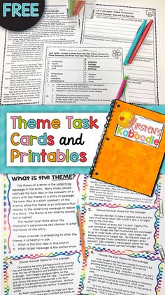 FREE! These theme activities are perfect for 3rd-6th grade! This free theme pack includes a full-page reading passage with corresponding questions, as well as task cards and differentiated answer sheets. This is perfect for reviewing theme, for end of year testing, or for a quick refresher!