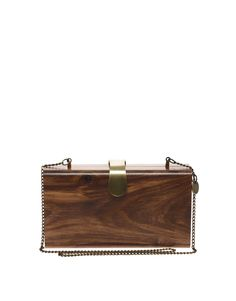 // French Connection Wonder Wood Clutch Bag