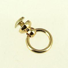 Bouton de col avec anneau pour attache lanière - DORE - 10 mm