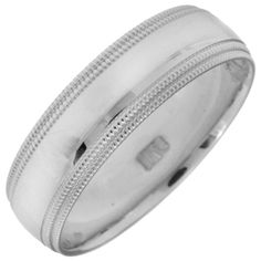 I guess the Mr. has decided on this wedding band! Men's 6.0mm Milgrain Edge Wedding Band in 10K White Gold