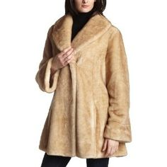 Jones New York Women's Faux Fur Jacket,Light Beige,Large (Apparel)