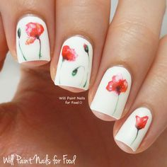 Nails of the day: Watercolor poppies