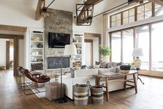 SM Ranch House: The Living Room A big, cozy, rustic living space! Living Room Designs, Living Room Decor, Living Spaces, White Built Ins, Modern Lake House, Interior Desing, Modern Fireplace, Fireplace Ideas, Diy Home
