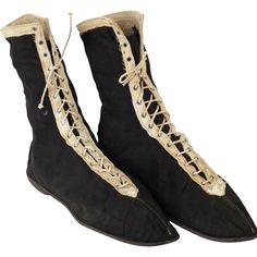 Antique Edwardian Era Ladies Black Swim Shoes/ Bathing Boots 1910 Sz 7 from rubylane-sold on Ruby Lane Black Lace Boots, Black Booties, Ankle Booties, Black Shoes, Edwardian Shoes, Edwardian Era, Edwardian Fashion, 1920s Bathing Suits, Vintage Shoes