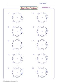 Pleasing free printable math worksheets equivalent fractions also learning equivalent fractions ideas for school of Math Fractions Worksheets, 3rd Grade Fractions, Free Printable Math Worksheets, Multiplying Fractions, Teaching Fractions, Equivalent Fractions, 4th Grade Math, Teaching Math, School Worksheets