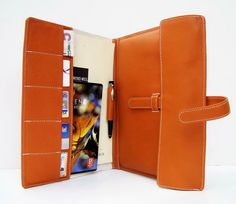 "Personalized MacBook Air 11"" Portfolio  & Card Case / File Folder in Hermes Tangerine / Orange Leather. Handmade Unique case"