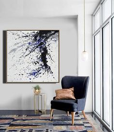 CZ ART DESIGN - Minimalist Drip Painting #DH27A, black, white, grey, blue, abstract painting canvas art.