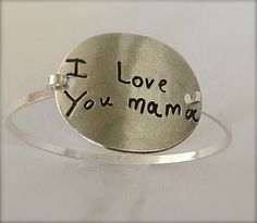 Your Child's Actual Writing Silver Message Bracelet --Made to Order. $130.00, via Etsy.