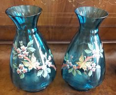"""TWO ANTIQUE MOSER  DARK TURQUOISE VASES WITH ENAMEL FLOWERS 7 1/2""""H #VICTORIAN #MOSER"""