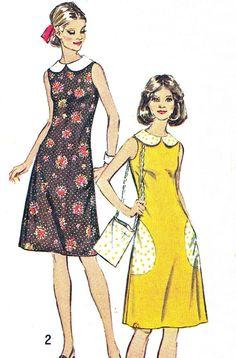 1970s Dress Pattern Simplicity 5514 Mod Sleeveless by paneenjerez, $10.00