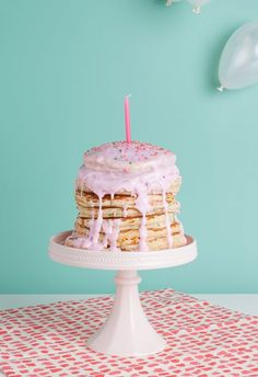 Last minute birthday party and you don't have cake? Well the perfect solution is our Pancake Birthday Cake! Fast easy and perfect for a quick morning birthday party!