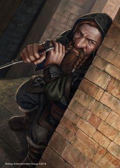m Dwarf Rogue Thief Hero Leather Armor Cloak Dagger urban City street story by Alen Rocha twin lg Fantasy Dwarf, Fantasy Rpg, Medieval Fantasy, Warhammer Fantasy, Fantasy Portraits, Character Portraits, Fantasy Artwork, Dungeons And Dragons Characters, Fantasy Characters
