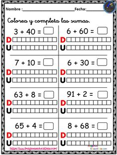 1st Grade Math Worksheets, 2nd Grade Math, Math Class, Spanish Classroom Activities, Teaching Spanish, Math Activities, Weather Words, Math Place Value, Math Addition
