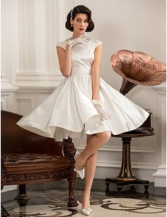 A-line Princess Jewel Short/Mini Satin Wedding Dress. Enjoy Saving $20 on Spending $185 or More Only at Light In The Box Using Promo Code at Checkout Page
