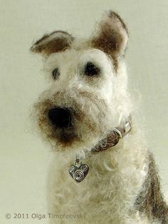 Needle felted Fox Terrier up close