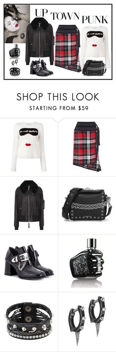 """Public School Leather Jacket & Plaid Skirt"" by romaboots-1 ❤ liked on Polyvore featuring Alice + Olivia, Public School, Alexander McQueen, McQ by Alexander McQueen, Diesel and JoÃ«lle Jewellery"