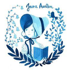 Jane Austen // watercolour // Instagram