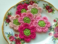 https://flic.kr/p/bXU9nd | Pink Crochet Flowers | Please see my profile for details:)