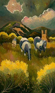 taos pueblo ponies by Ed Sandoval kp
