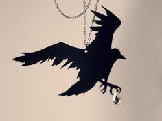Raven necklace - silhouette jewelry - gothic - bird jewelry. $24.00, via Etsy.