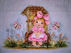 PINTURA EM FRALDA - MARICÉLIA  MONTANARI  SILVA Tole Painting, Fabric Painting, Betty Boop Pictures, Disney Characters, Fictional Characters, Aurora Sleeping Beauty, Baby Shower, Embroidery, Disney Princess