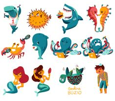 Under the Sea Collection of stickers for the You&Me App by Carolina Buzio