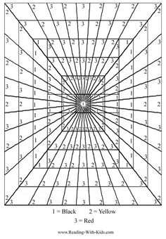 "Coolest color by number coloring pages I've ever seen! Teach ""perspective"", optical illusions ..."
