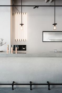 Love the simplicity of the interior in Usine restaurant, done by Richard Lindvall. The restaurant is located in a former sausage factory in Stockholm and is designed with mostly natural materials. Restaurant Design, Decoration Restaurant, Architecture Restaurant, Restaurant Concept, Architecture Design, Cafe Decoration, Bar Restaurant, Restaurant Lighting, Decorations