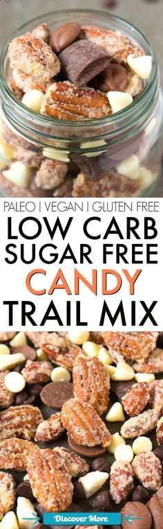 Low Carb Sugar Free Candy Trail Mix (V, GF, Paleo)- A guilt-free trail mix LOADED with all the good stuff- Chocolate chips, chunks, candied nuts and NO boring bits- Perfect for snacking, gifts, DIY, holidays and more! vegan, gluten free, paleo recipe- thebigmansworld.com