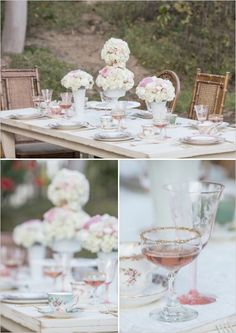 pretty tables with rose champagne