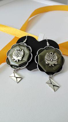 Boucles d'oreilles Harry Potter Hibou Invitation Poudlard argenté cabochon Nespresso vert : Boucles d'oreille par miss-perles