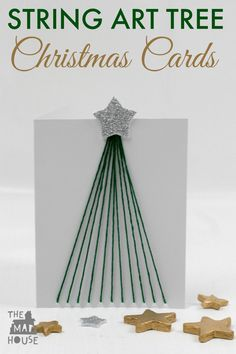 These fine motor string art tree christmas cards are perfect for the scandi style that is around at the moment and a great festive kids craft