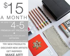 Pigment and Palette Art Subscription- $15 a month for art supplies in a happy surprise like package