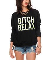 Married To The Mob Bitch Relax Crew Neck Sweatshirt