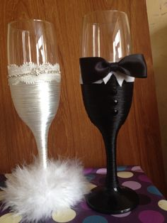 Bride and groom glasses with a difference @ https://m.facebook.com/Pennystouchofglass