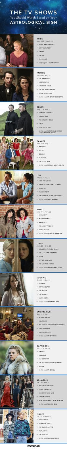 How your Zodiac sign can help you sort through the scads of really good, mediocre, and not-so-great TV.