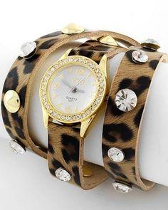 Jungle Leopard Animal Print Wrap Gold Womens Watch Wristwatches Fashion Jewelry