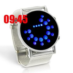 """LED Watch """"Ferius"""" - Blue LED, Metal Design, Japanese Style =====> Japanese style LED watch with blue LED time indication, and a full metal design including a hardened metal woven strap.     This Blue LED watch """"Ferius"""" features a minimalistic design and a hardened metal woven strap. Activate the watch by pressing the button on the right side and tell time in style! When not activated, the screen blends in with the rest of the watch, reflecting a glossy steel shine"""