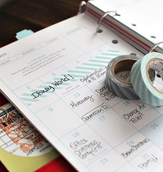 Office Organization: 7 Ways to Use Washi Tape at Home- Use a piece of washi tape for your planner. It's easy to move and especially fun to use for notes like vacations, since you can make it as long or short as you need to.