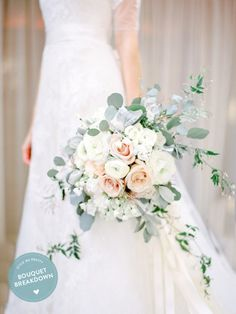 Brides: Rose Bouquet with Eucalyptus and Jasmine. Jasmine and leafy eucalyptus f… Brides: Rose Bouquet with Eucalyptus and Jasmine. Jasmine and leafy eucalyptus freshen up this classic blush and white rose bouquet by… Ranunculus Wedding Bouquet, Spring Wedding Bouquets, Bride Bouquets, White Ranunculus, White Roses, Blush Bouquet, White Peonies, Blush Roses, White Flowers