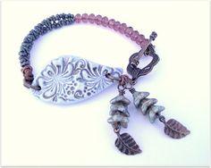 Textured ceramic bracelet crystal bracelet by ButtonedUpBeads, £21.50